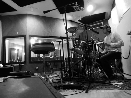 Recording drum loops in the studio, May 2019