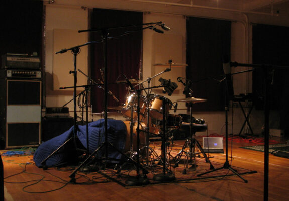 Smith custom maple drumkit in recording session for River Sessions (Drum Werks VII and VIII).