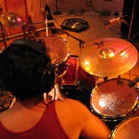 Recording jazz drum tracks at The Plant Studios in Sausalito, CA.